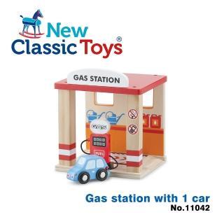 【荷蘭New Classic Toys】木製車車加油站玩具(11042)