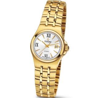 【TITONI 瑞士梅花錶】Impetus 動力系列-銀白色錶盤金色鍊帶錶帶/27mm(23730 G-520)