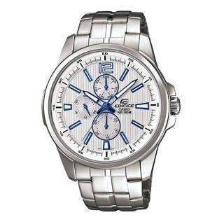 【CASIO  卡西歐】EDIFICE 簡約時尚直紋三眼鋼帶腕錶-銀白(EF-343D-7A)