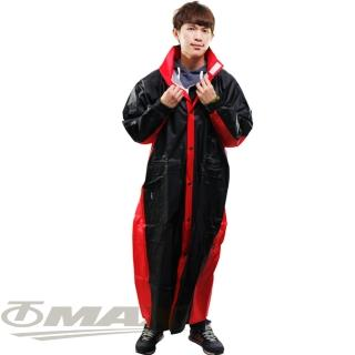 【JUMP】新二代新帥前開式休閒風雨衣-紅黑+通用鞋套(12H)
