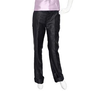 【LV】PA71RAA亮面絲絨飾邊直筒長褲(黑色-38)