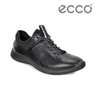 【ECCO】SOFT 5 綁帶式輕量休閒鞋(黑 28306350352)