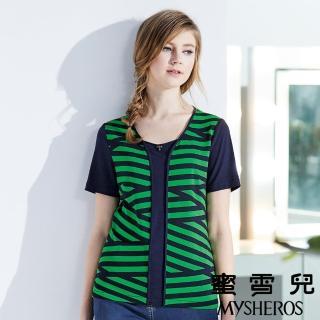 【蜜雪兒mysheros】假兩件交錯條紋彈性上衣(綠)