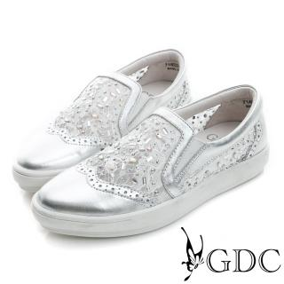 【GDC】舒適水鑽蕾絲真皮平底懶人休閒鞋-銀色(714602)