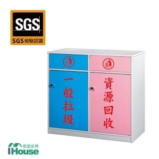 【IHouse】零甲醛 環保塑鋼2門資源回收櫃(寬86深40高88)