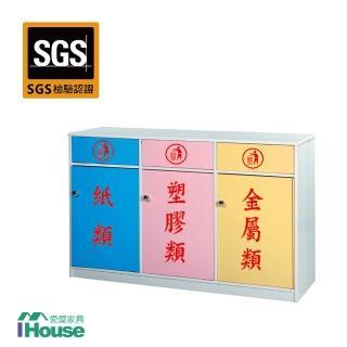 【IHouse】零甲醛 環保塑鋼3門資源回收櫃(寬127深40高88)
