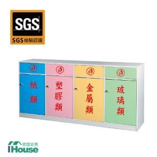 【IHouse】零甲醛 環保塑鋼4門資源回收櫃(寬169深40高88)