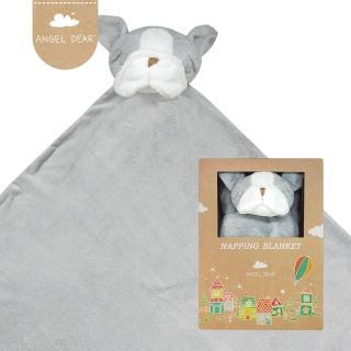 【美國 Angel Dear】大頭動物嬰兒毛毯(灰色鬥牛犬)