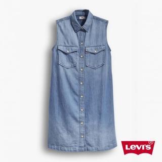 【Levis】無袖棉麻 / 翻領牛仔洋裝(2968000000)