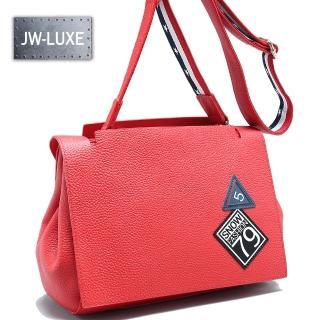 【JW】LUXE系列-真皮夢想5號國度頭層牛皮掀蓋肩側包(熱情紅)