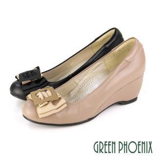 【GREEN PHOENIX 女鞋】典藏風範雙層緞面蝴蝶結全真皮足弓氣墊楔型包鞋(黑色)