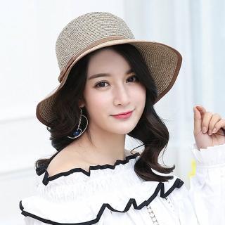 【幸福揚邑】日韓防紫外線可折疊大檐帽綁帶棉紗防曬遮陽帽(卡其)