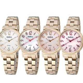 【Audrey 歐德利】典雅非凡簡單珍珠貝面女用腕錶(33mm/AUGM5652)