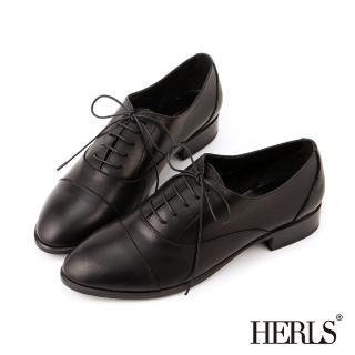 【HERLS】全真皮簡約紳士牛津鞋(黑色)
