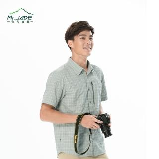 【Mt. JADE】AcDry男款Skyline吸溼快乾短袖襯衫(橄欖綠 格紋)