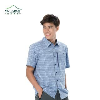 【Mt. JADE】AcDry男款Skyline吸溼快乾短袖襯衫(漸層藍 格紋)