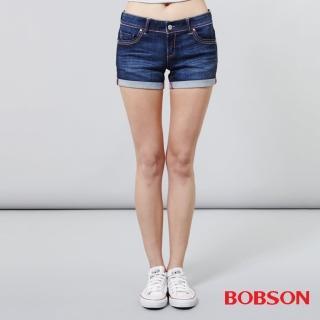 【BOBSON】女款超低腰紅線牛仔短褲(217-53)