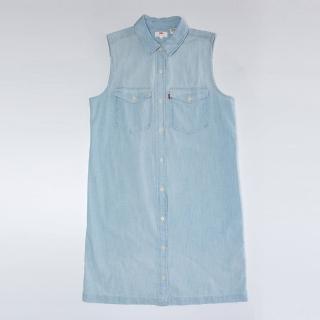 【Levis】無袖牛仔洋裝 / 水洗刷白 / 長版單寧