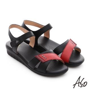 【A.S.O】挺麗氣墊 真皮撞色奈米魔鬼氈氣墊涼拖鞋(卡其)