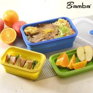 【Bamba】神奇摺疊矽膠保鮮盒 長方形 三件組(矽膠 摺疊 保鮮餐盒)