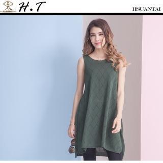 【玄太】泡泡點無袖特色織紋針織長版上衣(綠)