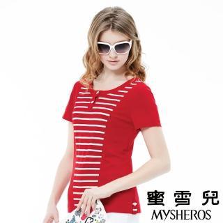 【蜜雪兒mysheros】純色圓領拚接條紋上衣(紅)