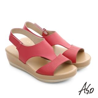 【A.S.O】嬉皮假期 真皮拼接壓紋魔鬼氈涼拖鞋(桃粉紅)