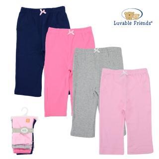 【美國 luvable friends】嬰幼兒純棉長褲4件組_ 典雅素色(LF32219)