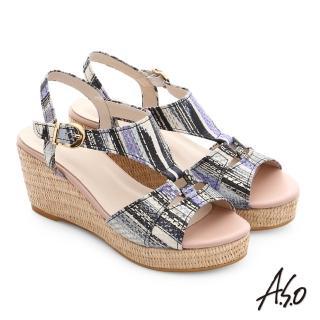 【A.S.O】嬉皮假期 真皮獨特紋路楔型涼鞋(黑)
