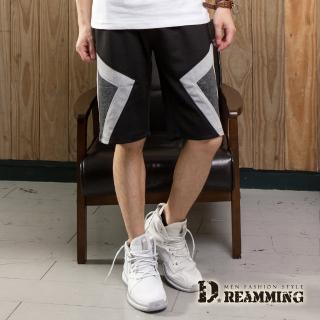 【Dreamming】拼布幾何時尚混色鬆緊休閒短褲(共二色)