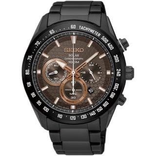 【SEIKO】精工 Criteria 太陽能計時手錶-鍍黑/43mm(V175-0EE0KS SSC587P1)