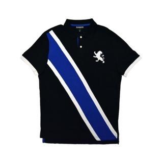 【Express】經典Polo衫 黑底白藍條LOGO(美國時尚品牌服飾)