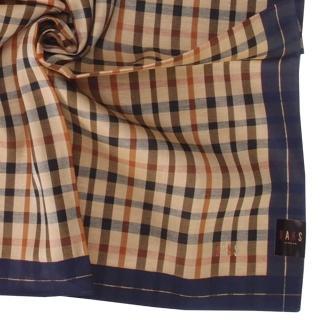 【DAKS】經典格紋刺繡LOGO純綿帕巾(深藍色)