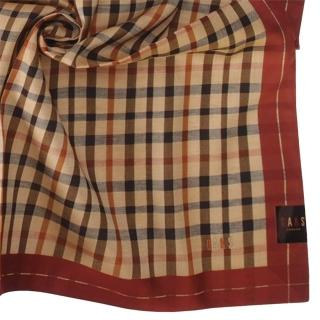 【DAKS】經典格紋刺繡LOGO純綿帕巾(紅色)