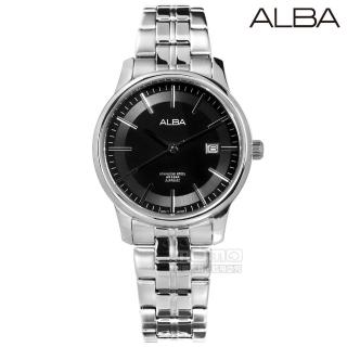 【ALBA】日期顯示藍寶石水晶玻璃防水不鏽鋼手錶 銀黑色 43mm(VJ42-X226D.AS9D89X1)