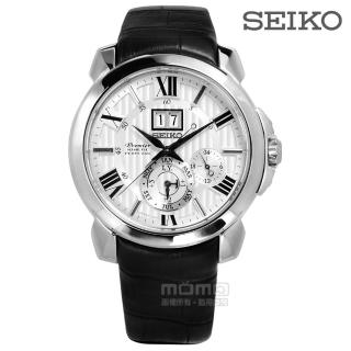 【SEIKO】精工 Premier 萬年曆大視窗男錶-銀x黑/43mm(7D56-0AE0P SNP143J1)