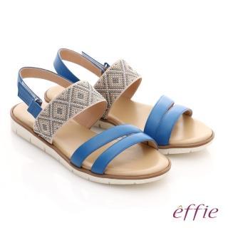 【effie】嬉皮假期 真皮串珠魔鬼氈涼拖鞋(藍)