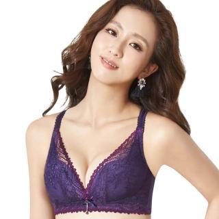 【思薇爾】撩波系列B-E罩無鋼圈蕾絲包覆內衣(皇家紫)