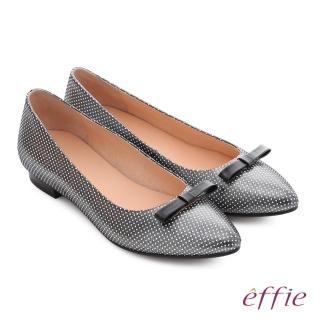 【effie】嬉皮假期 真皮飾釦楔型涼拖鞋(桃粉色)