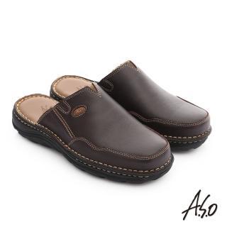 【A.S.O】都會休閒 全真牛皮抗震雙核心張菲鞋(咖啡)