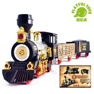 【Playful Toys 頑玩具】蒸氣軌道火車(蒸氣火車 蒸汽 復古 仿真 模型火車 電動 兒童玩具 禮物贈品 小火車)