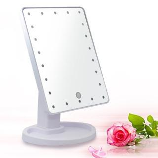 【幸福揚邑】10吋超大22燈LED可翻轉觸控亮度調整美顏化妝桌鏡-白