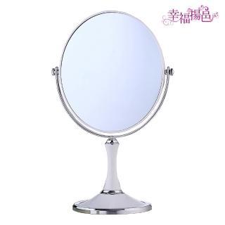 【幸福揚邑】歐式8吋超大歐式時尚梳妝美容化妝放大雙面桌鏡(橢圓鏡-純白)