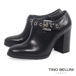 【TINO BELLINI 貝里尼】帥勁釦帶高跟踝靴B69034(黑)