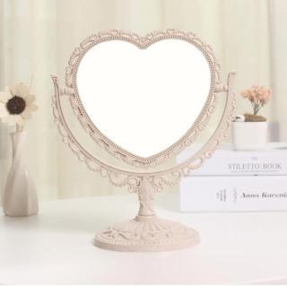 【幸福揚邑】歐式麥稈化妝鏡旋轉放大雙面桌鏡(心形米)