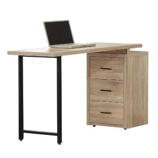 【AT HOME】現代簡約4尺梧桐三抽鐵腳書桌(120x52x80cm)