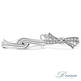 【DINA 蒂娜珠寶】『紛飛花結』 鑽石情侶結婚對戒(對戒 系列)