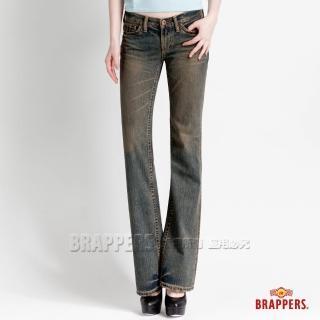 【BRAPPERS】女款 垮褲系列 漸層低腰小喇叭褲(復古藍)