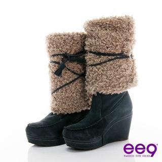 【ee9】ee9 百變多Way~經典皮草磨砂牛皮綁帶靴~ 典雅灰(長筒靴)