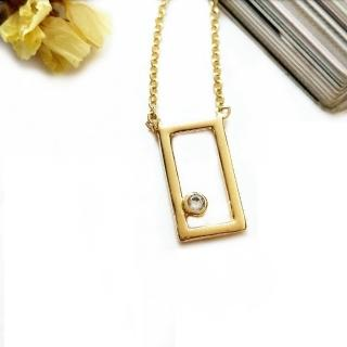 【DoriAN】經典夢想方塊鑲鑽純銀項鍊(925純銀 鍍18K金 鑲CZ鑽)